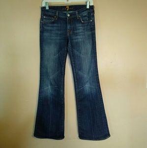 7FAM 27 Dark Wash Flare Blue Jeans